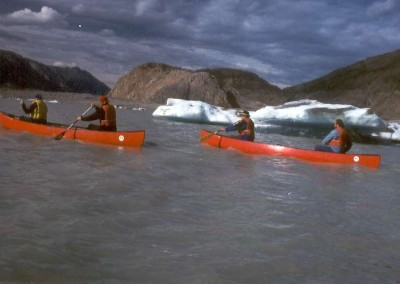 canoes on glacier lake 800